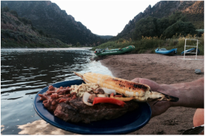 A gourmet dinner on a Colorado River Overnight trip.
